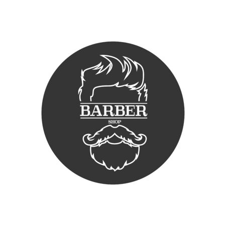Barber shop isolated vintage label badge emblem line icon. Vector illustration Stock Illustratie