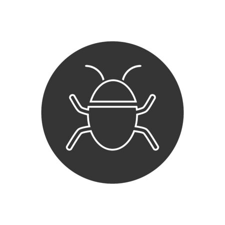 Bug vector line icon on white. Vector