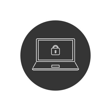 Vector tech computer laptop line icon. On the computer screen a lock sign. Illustration of a laptop safety in flat style