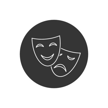 Happy and sad theater mask vector line icon