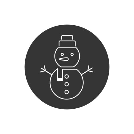 Vector line icon of snowman with hat and scarf in modern flat style