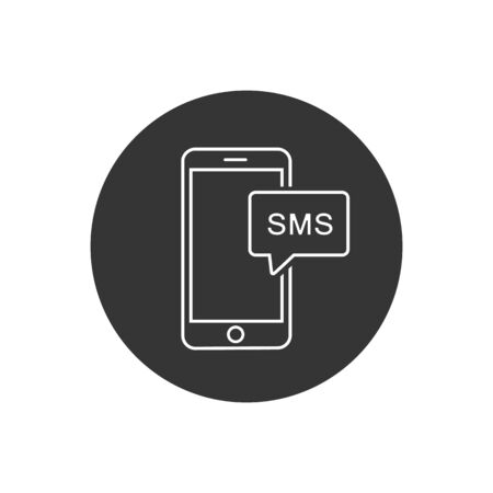 Mobile Messageline icon vector illustration in modern flat style