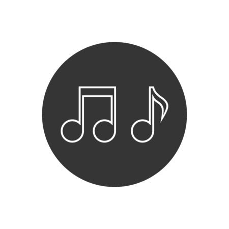 Music note vector line icon. Sound and melody symbols in modern flat style Stock Illustratie