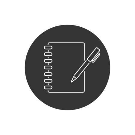 Notebook vector line icon on white in modern flat style Stock Illustratie