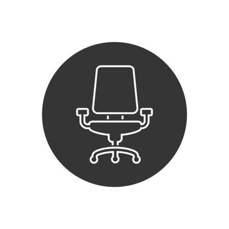 Office chair vector line icon on white in modern flat style