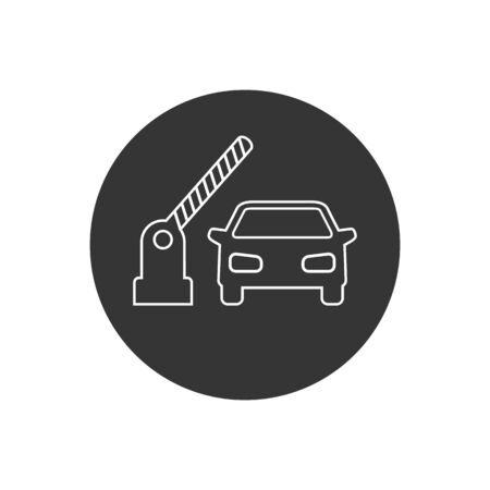 Open barrier, car vector line icon on white in modern flat style Stock Illustratie