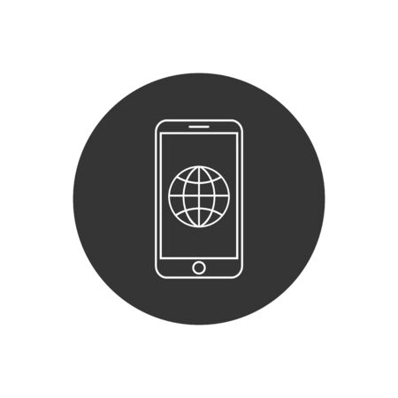Phone roaming line icon in flat style. Roaming symbol for your web site design, logo, app, UI Vector