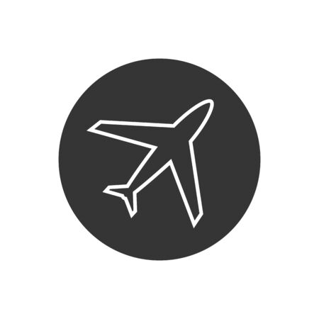 Plane vector line icon, airport and airplane pictogram symbol in modern flat style