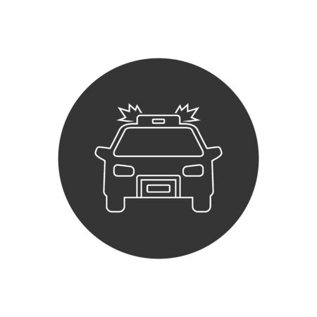 Police carline icon on white. Vector illustration in modern flat style Vettoriali