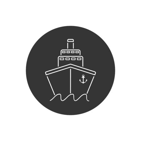 Ship line icon flat. Black pictogram on grey background. Vector illustration symbol Stock Illustratie