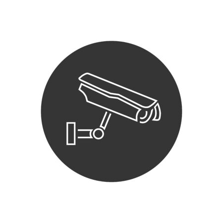Fixed CCTV, Security Camera Line Icon Vector Template in modern flat style