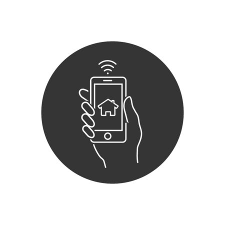 Smart home and network connect concept. Human hand holding phone and smart home application. Vector line icon