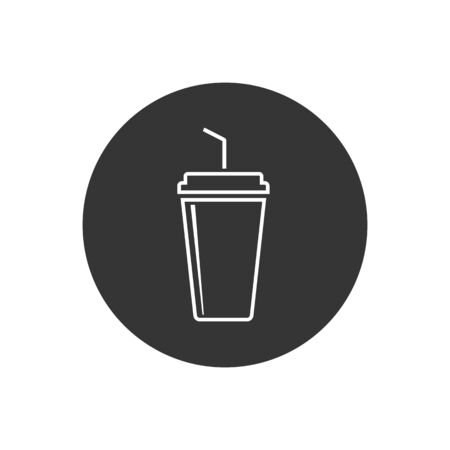 Soft drink flat line icon. vector illustration in modern flat style