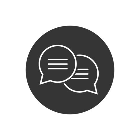 Speech bubble thin, vector line icon on white background, isolated flat