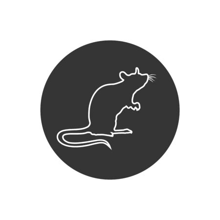 Standing Rat silhouette. Rat line icon. vector sign in modern flat style