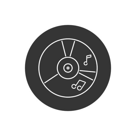 CD music line icon in flat style. Vector illustration in modern flat style