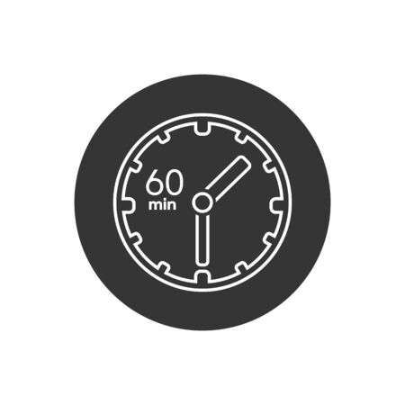Clock line icon. sign 60 min. Vector on white in modern flat style  イラスト・ベクター素材