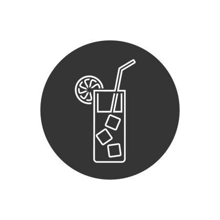 Cocktail line icon on flat style. Vector in modern flat style