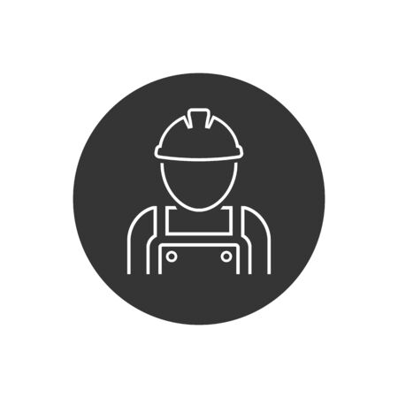 Construction worker vector line icon in modern flat stylein flat