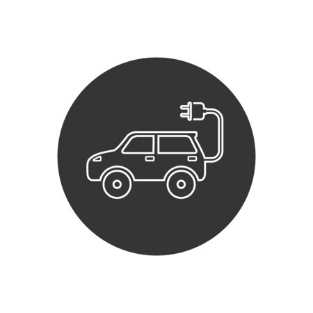 Electric auto line icon. Flat design. Vector illustration in modern flat style Stock Illustratie