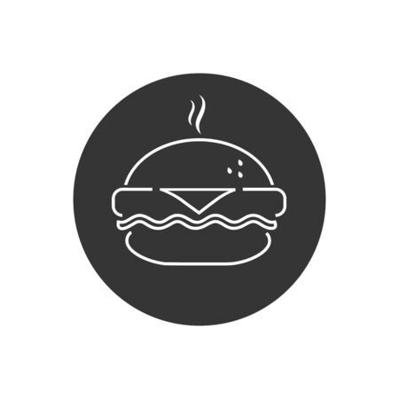 Fast food line icon, burger icon. Vector simple black isolated illustration in modern flat style  イラスト・ベクター素材