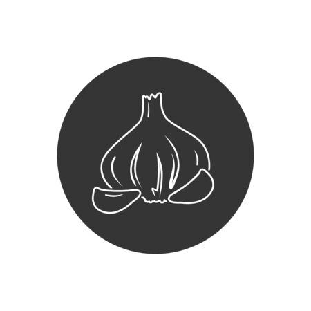 Graphic garlic silhouette line icon. Vector in modern flat style  イラスト・ベクター素材