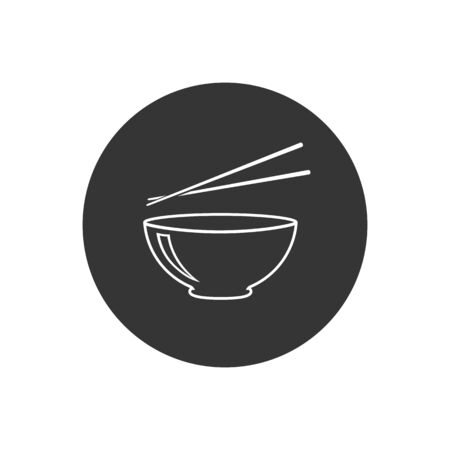 Bowl and chopsticks line icon flat style. Vector in modern flat style