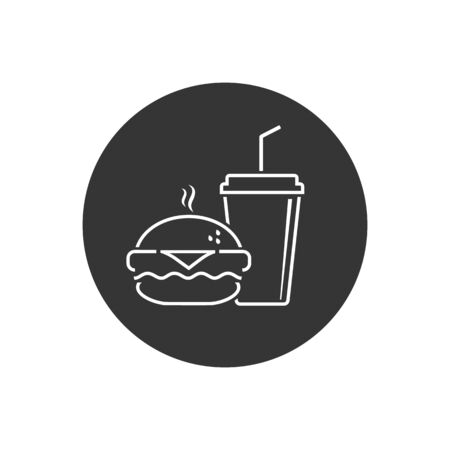 Fast Food Vector Line Icon. Burger and soda or cola drink silhouette, isolated symbol