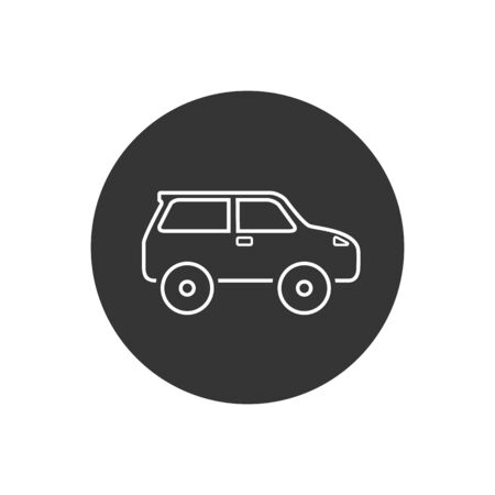 Car line icon on white. Vector illustration in modern flat style