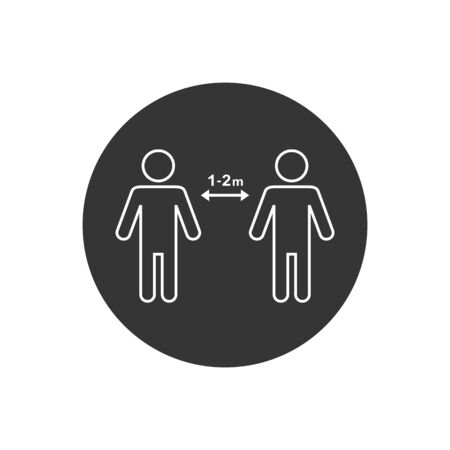 Keep distance icon. Coronovirus epidemic protective equipment. Preventive measures. Steps to protect yourself. Keep the 1 meter distance. Vector illustration