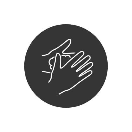 Please wash your hands line icon sign. Vector illustration in modern flat style Illustration