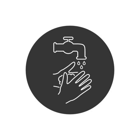 Please wash your hands icon line sign. Vector illustration in modern flat style  イラスト・ベクター素材