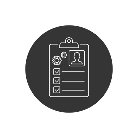 Tasks symbol vector sign line icon isolated on white background. Simple vector illustration for graphic and web design. Signed approved document. Project completed  イラスト・ベクター素材