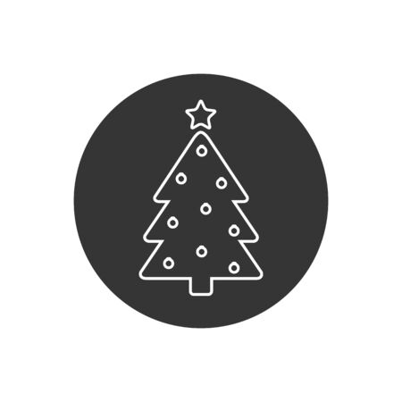 Tree Line Icon On White Vector Illustration in modern flat style