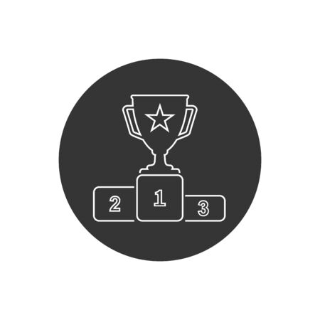 First prize gold trophy line icon, trophy, winner, first prize, runner-up prize, vector illustration and icon. Vector  イラスト・ベクター素材