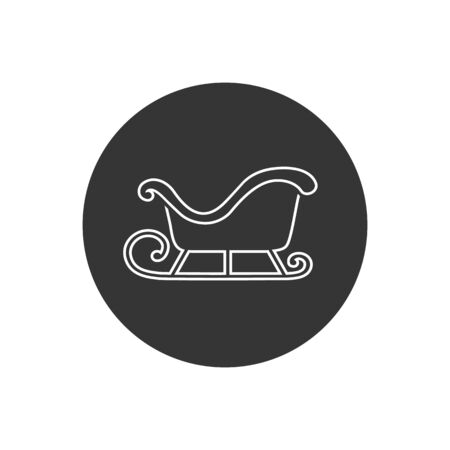 Vector Illustration of a Christmas Sleigh Line Icon in modern flat style