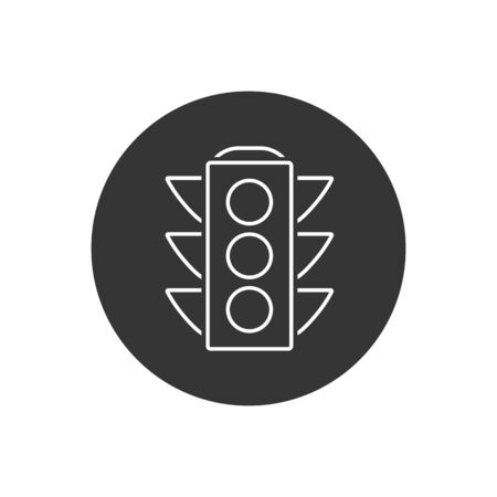 Vector traffic light line icon on white in modern flat style  イラスト・ベクター素材