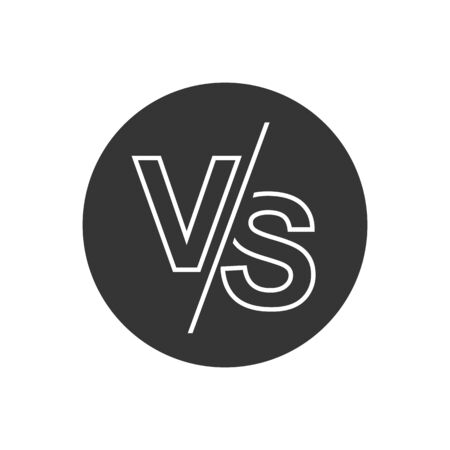 VS versus letters vector logo line icon isolated on white background. VS versus symbol for confrontation or opposition design concept  イラスト・ベクター素材