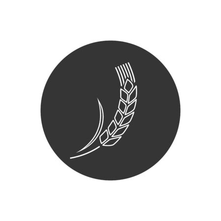 Wheat spike isolated on white background. Grain plant silhouette. Spica line icon. Ear organic. Vector illustration flat design