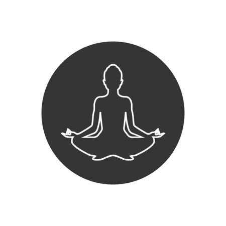 Yoga line icon. lotus position silhouette. Vector shape Stockfoto - 145709238