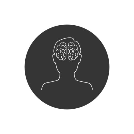 Head with brain vector line icon in modern flat style