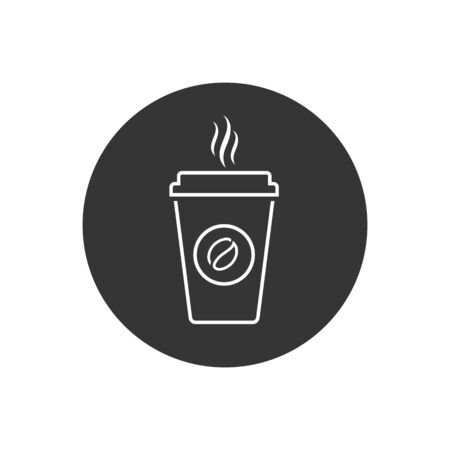 Hot coffee cup vector line icon illustration isolated on white background in modern flat style