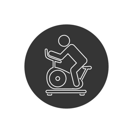 Man training on exercise bike line icon. Vector icon isolated on white background