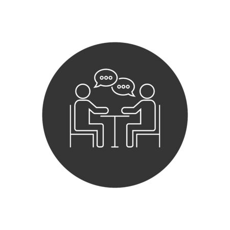 Meeting line icon design. Business consulting icon in flat style design. Vector illustration Stock Illustratie