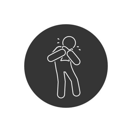 Man Coughing line icon. Covid 19. Attention coronavirus. Medical concept. Caution virus. vector illustration