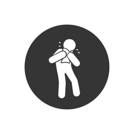 Man Coughing icon. Covid 19. Attention coronavirus. Medical concept. Caution virus. vector illustration