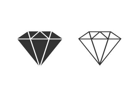 Diamond line icon set. Gemstone symbol. Vector