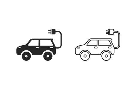Electric auto icon set. Flat design. Vector illustration