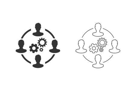 Business collaborate icon set vector image Ilustración de vector