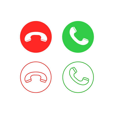 Phone call line icon set. Accept call and decline button. Green and red buttons with handset silhouettes. Vektorgrafik